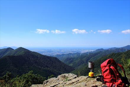 山頂からの遠賀川河流方面の景色