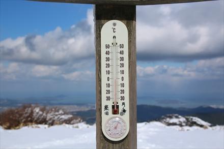 山頂の気温-2度