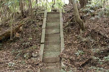 愛嶽山の祠へ続く石段