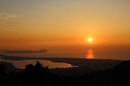 立花山からの夕日