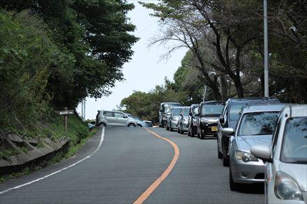 片江展望台へハチクマを見に来た車