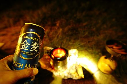 キャンプにビール
