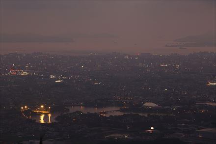 岳城山展望台からの景色(ガス)
