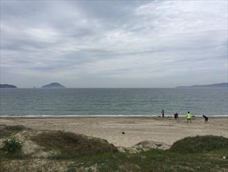 元寇防塁前の海岸