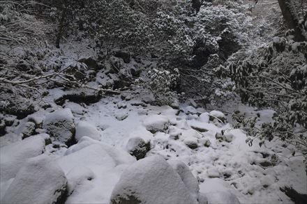 難所ヶ滝へ向かう途中の積雪