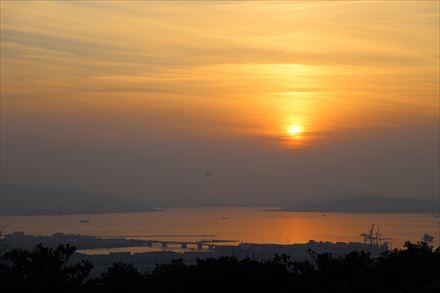 三日月山から見える夕日