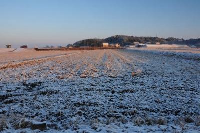 淡雪の田園風景