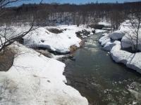小川もまだ雪景色。