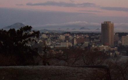 仙台城趾からの早朝風景