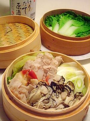 牡蠣とホッキ貝のせいろ蒸し鍋