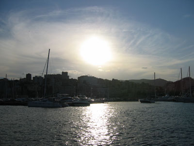 パルマ港の夕焼け