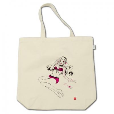 ヘッドフォン女子トートバッグ(黒×ピンク)