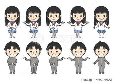 ストックイラスト/学生男女/セーラー服