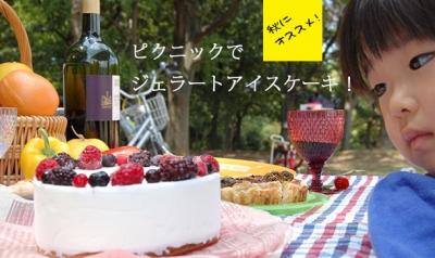ピクニックでジェラートアイスケーキ
