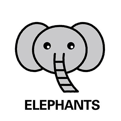 象のお名前シール