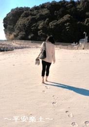 白良浜を歩く