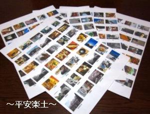 シール用紙にプリントした写真たち。