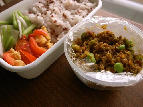 枝豆とひき肉のカレー弁当