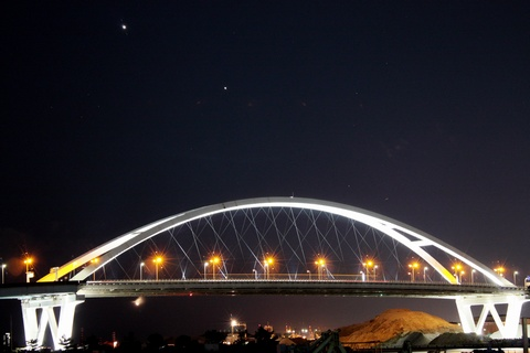 西宮港大橋と金星と木星