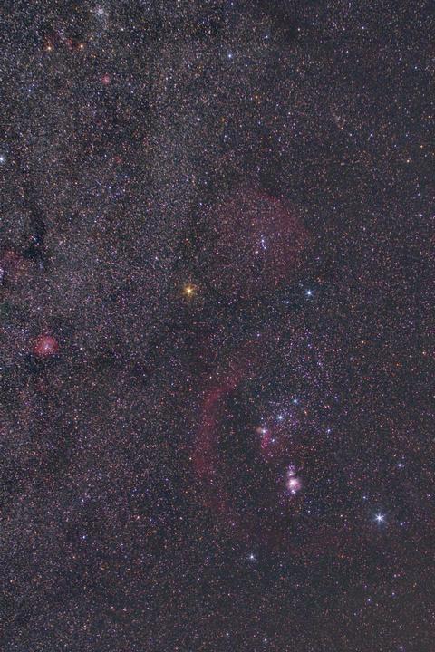 冬の銀河からオリオン座周辺