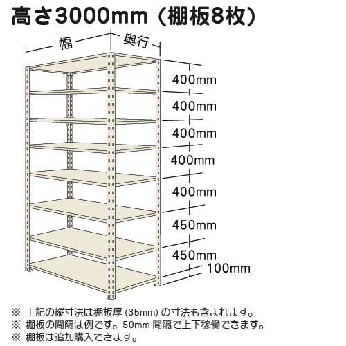 スチール棚軽量棚オープン 高さ3000mmの展開