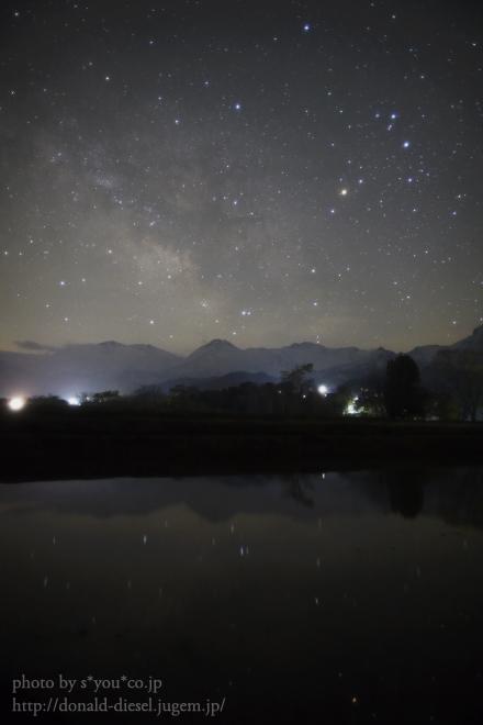水面に写る星