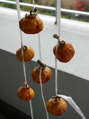 ベランダの干し柿