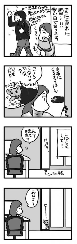 福 ぬくぬく 毛布 くるまる 寒 雪 チワワ 犬 まんが 漫画 マンガ
