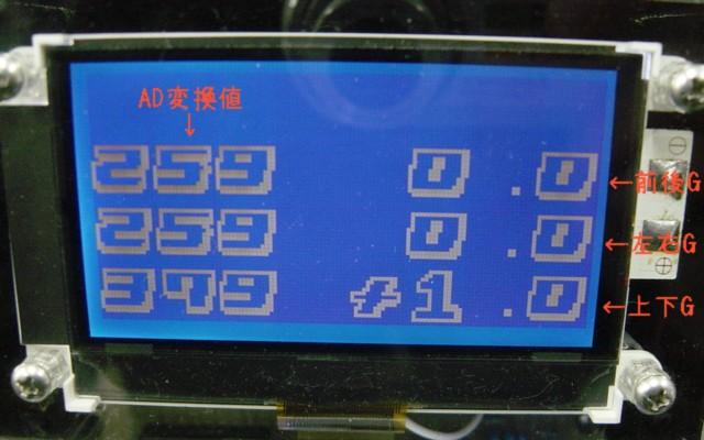 加速度メータ LCD表示画面