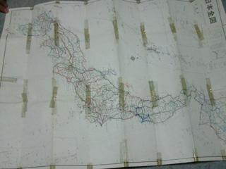 走った道を塗っておられる日本地図