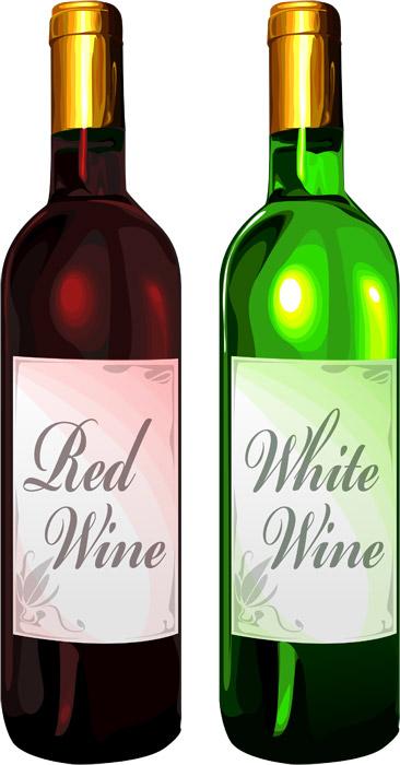 赤と白のワインボトル