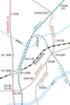 南吹田駅 JR淡路駅 地図