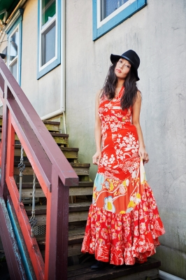 着物ドレス 赤