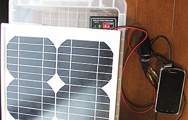 窓際において発電&蓄電&スマホ充電
