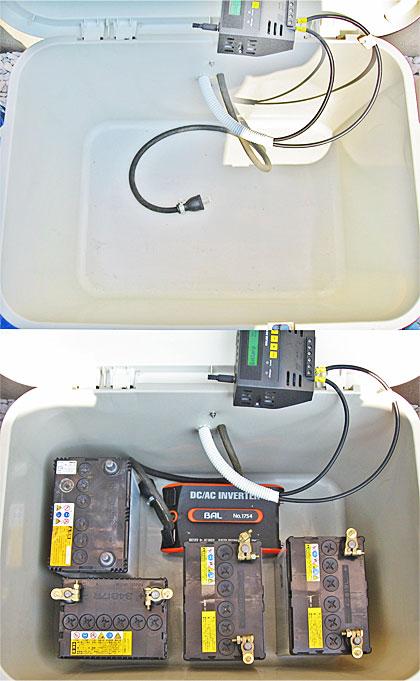 バッテリーとインバーターをコンテナボックスに配置