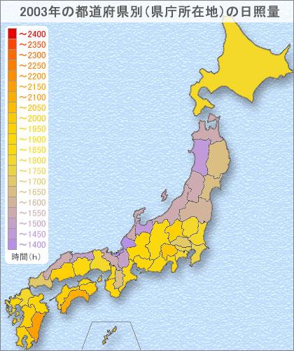 2003年の日照時間ランキング