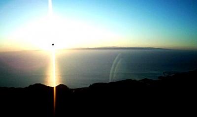 HUBSAN-H502S-ハブサン-トイドローン-で空撮した夕日と佐渡島