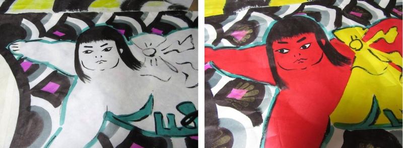 絵付け前(左)と絵付け後(右)