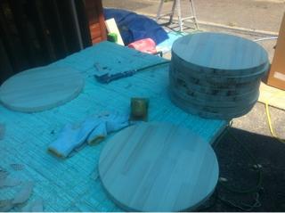椅子座面製作・カウンターガラスコーティング仕上げ