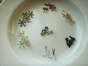 割りピン(雪結晶、木の葉、ネコの後姿、ハサミetc)