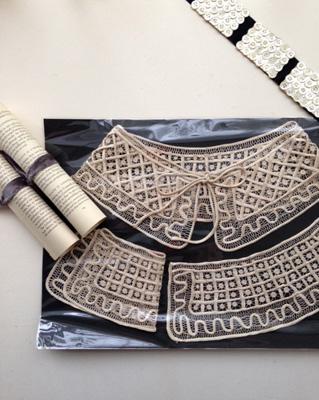 19世紀のシルク製の衿とカフスのセット