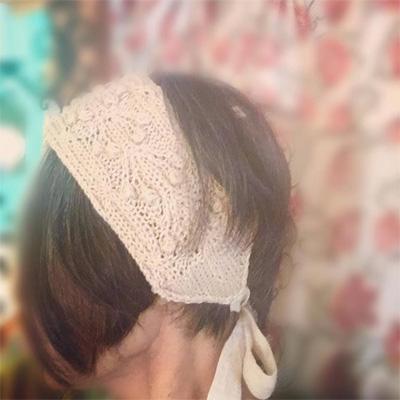 ho・ho・u*さんの淡い桜色に染めたニットのヘアターバン