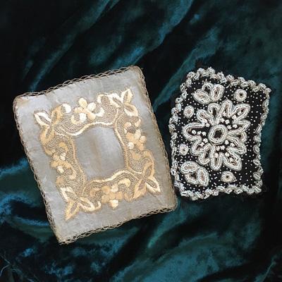 エドワーディアンのシルク刺繍パーツと1920'sシードビーズの刺繍パネル
