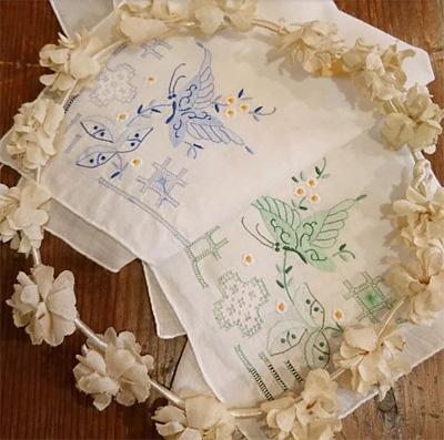 美しいスワトウ刺繍のハンカチ