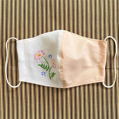 花刺繍バイカラーマスク