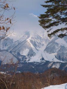 五竜とおみスキー場がよく見える