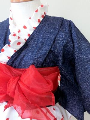 (90)デニムプリントの浴衣ドレス