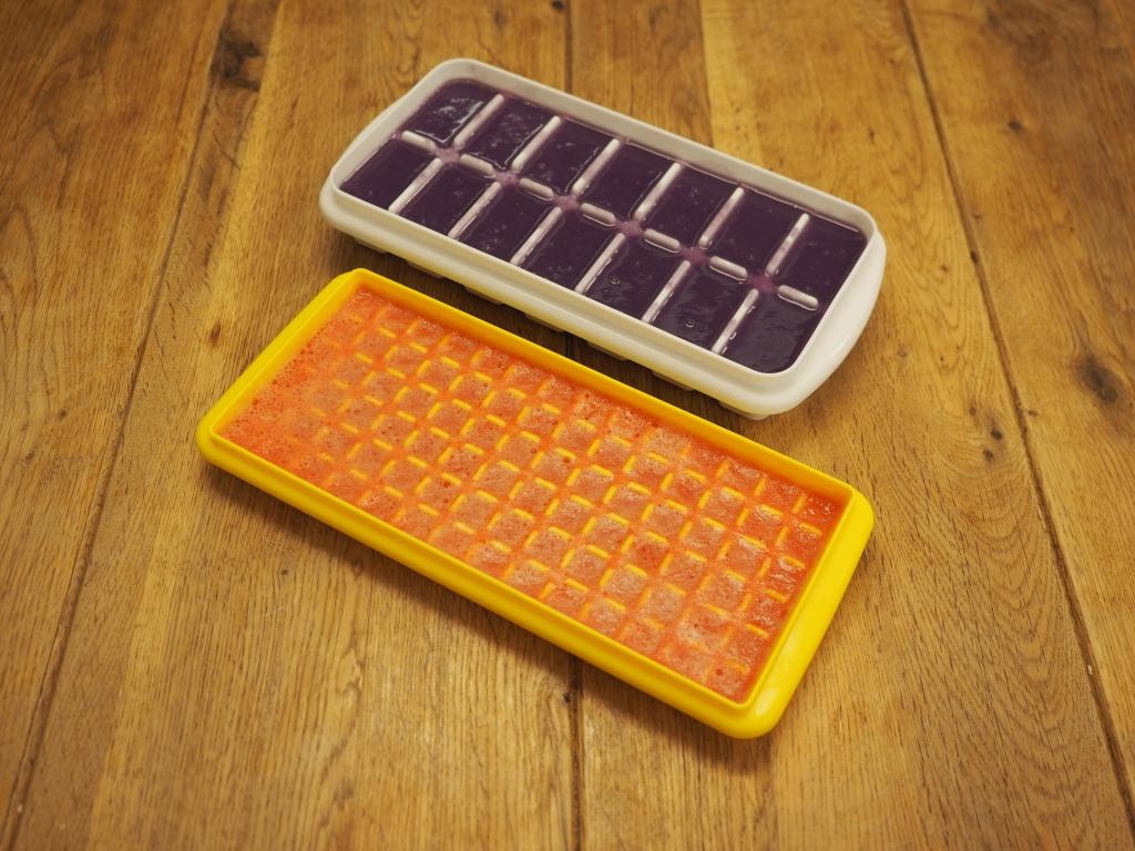 製氷皿の紫芋と人参