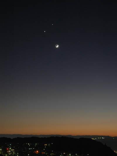 12月1日夕方の西空(月・金星・木星)
