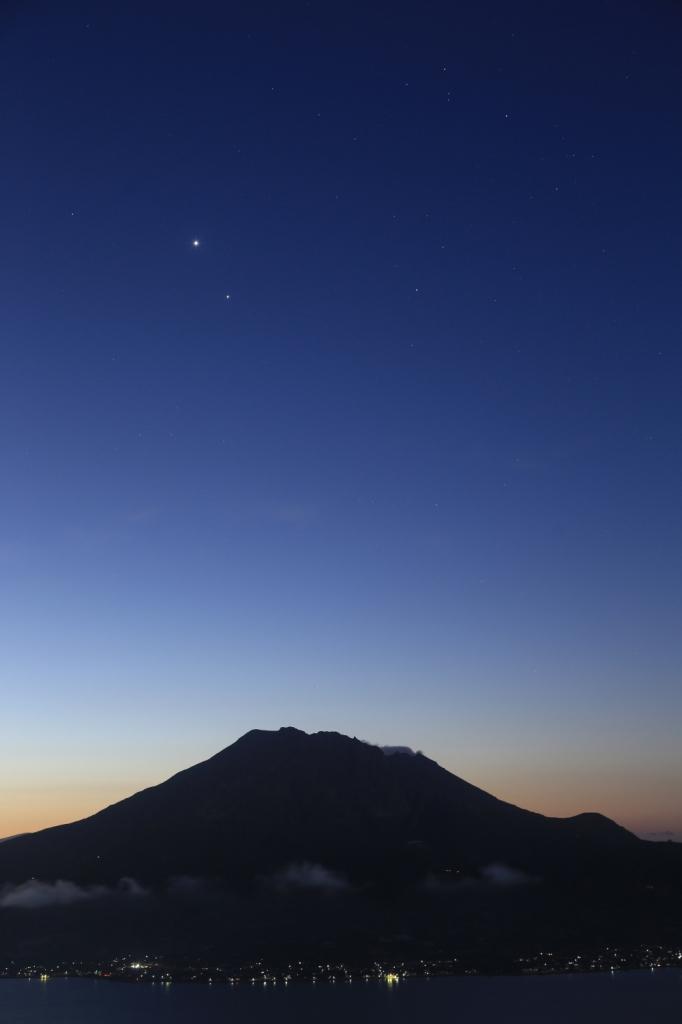190122桜島上空の金星・木星・アンタレス